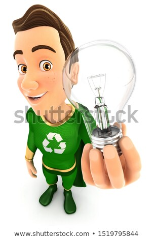 3D zöld hős tart villanykörte illusztráció Stock fotó © 3dmask