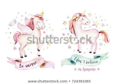Belo aquarela cavalo folha beleza arco-íris Foto stock © balasoiu