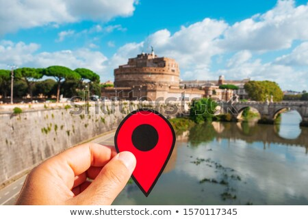 red marker at Castel Sant Angelo in Rome, Italy
