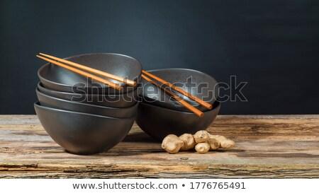 Boş çanak ahşap Çin yemek çubukları kırmızı beyaz Stok fotoğraf © magraphics