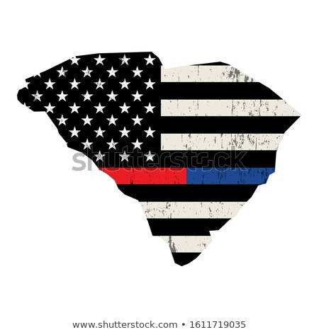 State of South Carolina Police and Firefighter Support Flag Illu Stock photo © enterlinedesign
