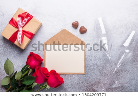 Valentines day card with rose flower bouquet Stock photo © karandaev