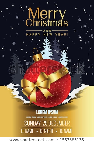 red merry christmas royal background with golden balls Stock photo © SArts