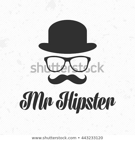 Hat очки усы волос мужчин группа Сток-фото © nezezon