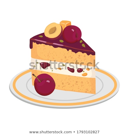 piece of cake on plate at birthday party Stock photo © dolgachov
