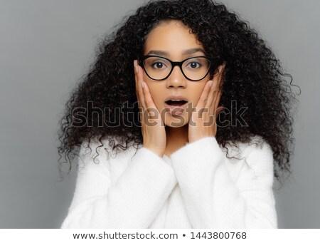 Közelkép portré megrémült fiatal nő sötét bőr Stock fotó © vkstudio