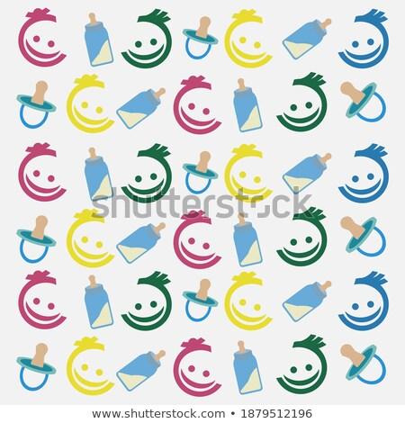набор пастельный цветами лицах иконки Сток-фото © ukasz_hampel