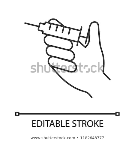 injection of syringe in hand icon vector outline illustration Stock photo © pikepicture