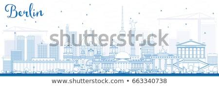 Berlim linha do horizonte azul edifícios negócio Foto stock © ShustrikS