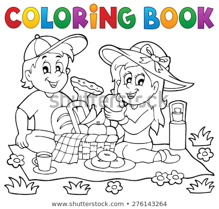 Coloring book flower basket theme 1 Stock photo © clairev
