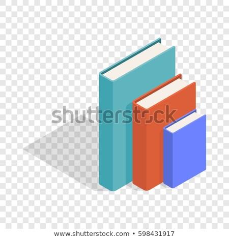три · вертикальный · книгах · красное · яблоко · бумаги - Сток-фото © stockfrank