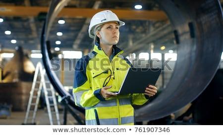 Nő mérnök megnyugtató szeméttelep nyár szemüveg Stock fotó © OleksandrO