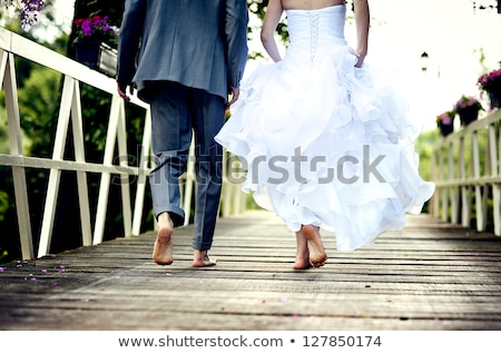young wedding couple outdoors stock photo © tobkatrina