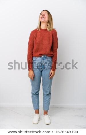 portre · güzel · heyecanlı · genç · kadın · ayakta - stok fotoğraf © HASLOO