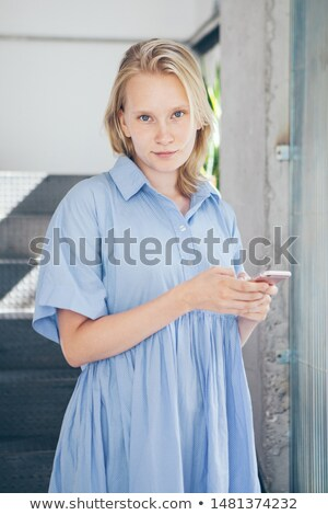 blonde women recieve the good mood message stock photo © pekour