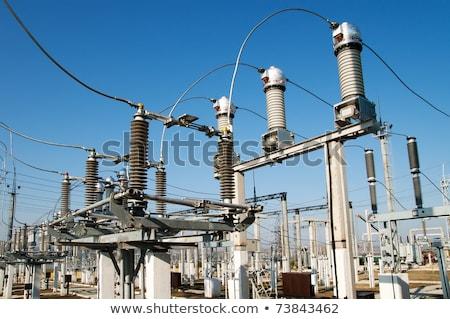 Kék ég fém hálózat energia elektromosság áramkör Stock fotó © yoshiyayo