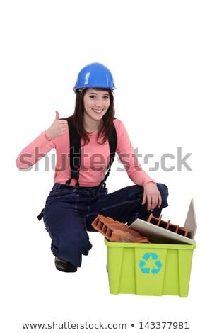 женщину рециркуляции строительные материалы синий связи женщины Сток-фото © photography33