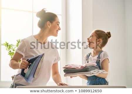Stockfoto: Dochter · strijken · vrouw · familie · gelukkig · haren