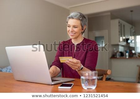 Idősebb nők hitelkártya online számítógép otthon Stock fotó © photography33