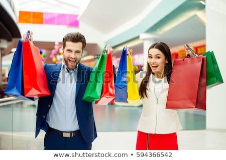 ストックフォト: ショッピング · 男 · ハンサムな男 · ショッピングバッグ · 白 · 幸せ