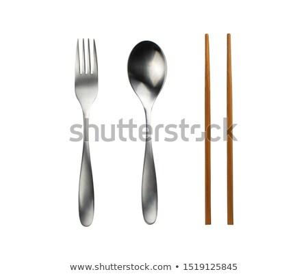 Noodles on metal chromed fork on background Stock photo © vetdoctor