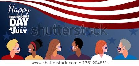 homem · bandeira · bonito · jovem · preto · bandeira · americana - foto stock © stevanovicigor