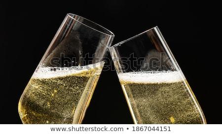 gyertyák · pezsgő · szemüveg · virágcsokor · virágok · váza - stock fotó © melpomene