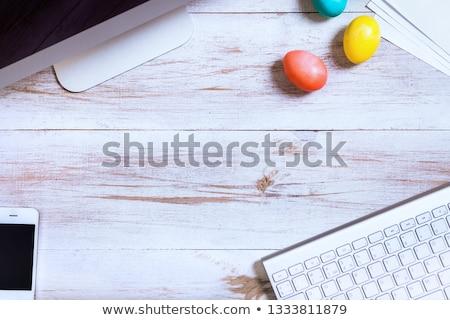 счастливым Пасху клавиатура концепция красный иконка Сток-фото © maxmitzu