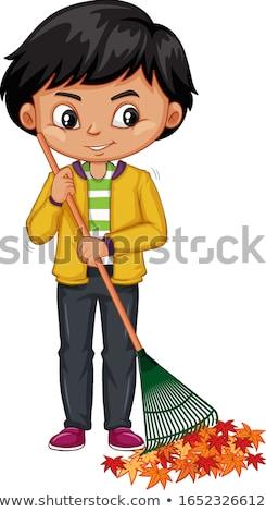 Boy with a rake Stock photo © oneinamillion