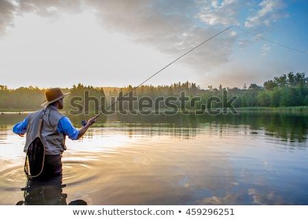 Uçmak balık tutma olta ıslak ahşap Stok fotoğraf © stevemc