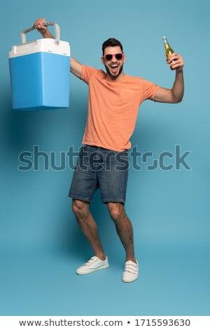 Portatile frigorifero blu piccolo frigorifero alimentare Foto d'archivio © jarp17