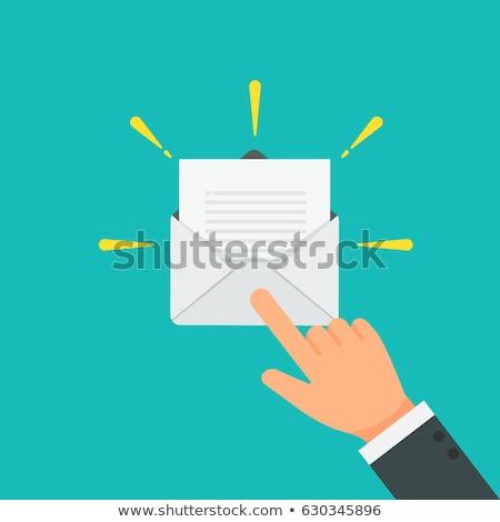 бизнесмен открытых электронная почта деловой человек прикасаться икона Сток-фото © matteobragaglio