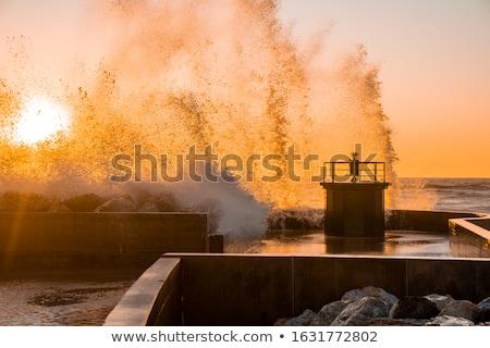 spray of waves crashing against rock stock photo © inaquim