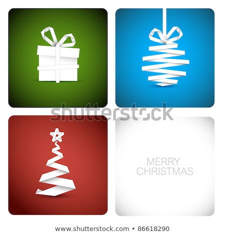 vector christmas decoration made from white paper stripes in circles stock photo © orson