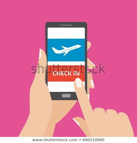 Online flight check-in using a smartphone illustration Stock photo © alexmillos