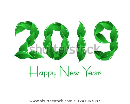 abstract green leaf based new year text Stock photo © pathakdesigner
