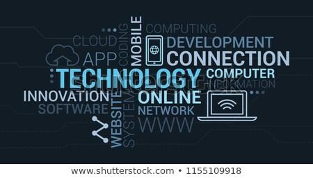 Stok fotoğraf: Teknoloji · kelime · bulutu · vektör · Internet · arka · plan · web