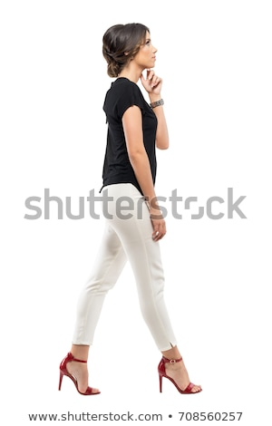 Charming woman in white suit on white background Stock photo © vetdoctor