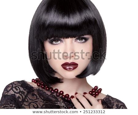 senhora · retrato · jovem · morena · cinza · mulher - foto stock © victoria_andreas