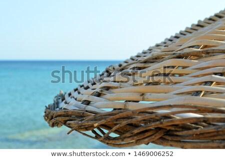 パラソル 湖 日の出 水 風景 壊れた ストックフォト © trala