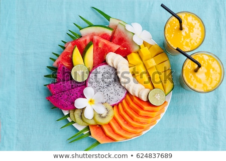 vruchtensalade · sinaasappelsap · voedsel · vruchten · banaan · salade - stockfoto © m-studio