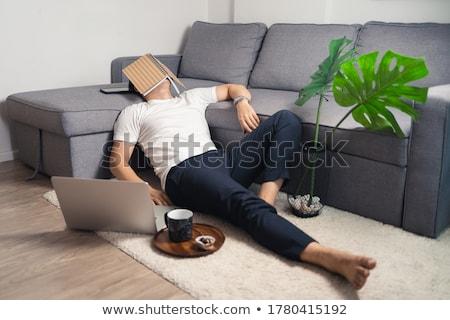 устал · человека · спальный · ноутбук · клавиатура · ночь - Сток-фото © feedough
