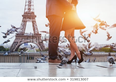 romantic kiss in paris stock photo © fisher