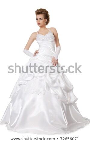 lujoso · súper · modelo · blanco · vestido · de · novia - foto stock © victoria_andreas