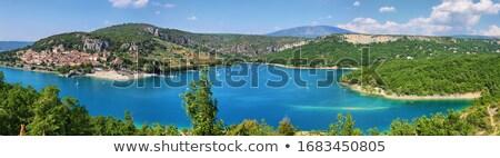 Falu tájkép szent víz dombok Stock fotó © ivonnewierink