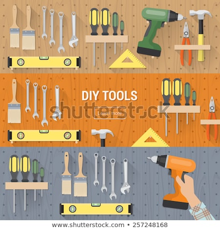 set of tools in male hand stock photo © oleksandro