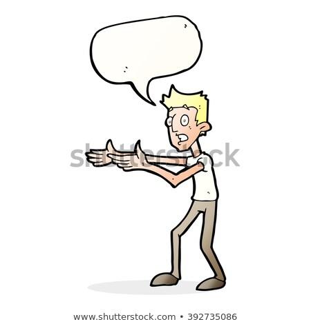 Rajz férfi magyaráz szövegbuborék kéz terv Stock fotó © lineartestpilot