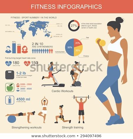 Vrouw fitness infographics moderne vector element Stockfoto © vectorikart