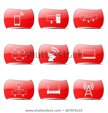 Foto stock: Comunicación · rojo · vector · diseno · establecer · Internet