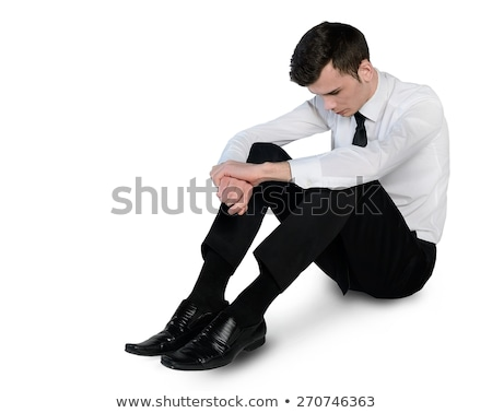 Homme d'affaires triste vers le bas isolé homme costume Photo stock © fuzzbones0